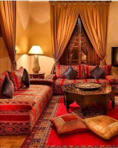 What We Love: Moroccan mint tea by the fire. Hotel Riad Kniza (Marrakech, Morocco) - Jetsetter Home Moroccan Decor Living Room, Moroccan Room, Moroccan Home Decor, Indian Living Rooms, Living Room Red, Moroccan Interiors, Moroccan Design, Indian Home Decor, Living Room Decor