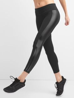 ca98da4748e64 Gap Womens Gfast 7/8 Blackout Shine Leggings - Xl Regular Fleece Pants,  Athletic
