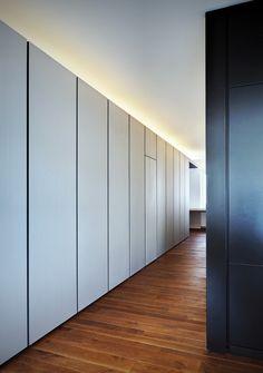 Appartamento T, Como, 2011 - Arkham Project Wardrobe Cabinets, Wardrobe Doors, Built In Wardrobe, Cove Lighting, Indirect Lighting, Hall Lighting, Invisible Doors, Sliding Wall, Wardrobe Design Bedroom
