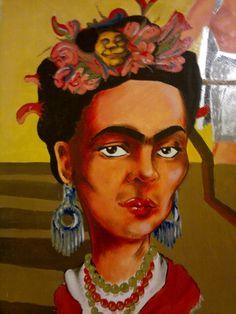 """Frida"" (fragmento) mural realizado en bar ""La Vecindad"" de Honduras y Thames Honduras, Bar, Painting, Frida Khalo, Hipster Stuff, Painting Art, Paintings, Painted Canvas, Drawings"