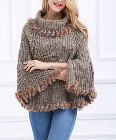 Another great find on #zulily! Khaki Wool-Blend Cowl Neck Poncho #zulilyfinds