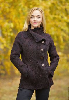 Купить Жакет Burgundy- войлок - коричневый, валяная одежда, пальто из шерсти, одежда из войлока
