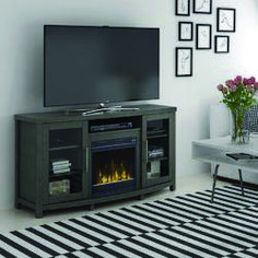 Your Guide to fireplace tv stand dark wood exclusive on homeeideas.com Entertainment Center Kitchen, Entertainment Room, Swivel Tv Stand, Fireplace Tv Stand, Fireplace Heater, Diy Tv Stand, Puff, Electric Fireplace, Console