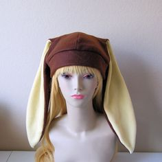 0efb7a23391 Fleece Rabbit Hat   CHOCOLATE BROWN + CREAM Beanie Style w  Long Bunny Ears  Cute Anime Cosplay Rabbit Usagi Kawaii Japanese Fashion