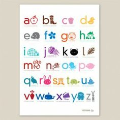 Now we know our ABC's thanks to #Mimosa.  A colorful and educational print to jazz up your nursery or playroom.