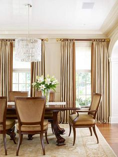Proper Proportions High Ceilings And Tall Windows Doorways Called For This Dining Rooms Furnishings To Room DrapesElegant
