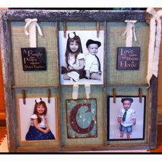Refurbished old window...used paper clips for the pics spin can switch them out as the kids grow :)