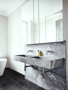 Contemporary Bathroom with Black and Gray Marble