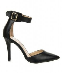 Breckelles Womens Ankle Strap Pointy Toe Heels