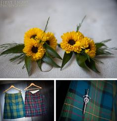 Yellow sunflower button holes. First Light Photography: Duncan & Simon, Edinburgh City Chambers | Civil Partnership Photography
