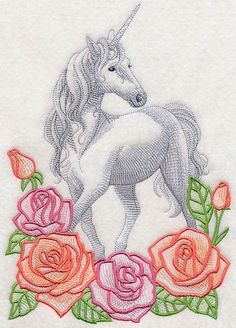 2 mystical Rose Floral Unicorns embroidered fabric sewing quilt blocks squares