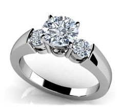 12604ce9f2d7 Details about 0.75 Carat White Round Diamond Three Stone Engagement Ring in  14K WG ASAAR