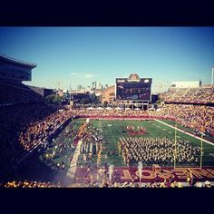 Great day for football! At TCF Bank cheering on the home team.
