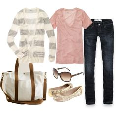 Gray and cream striped cardigan, pink v-neck, jeans, gold shoes