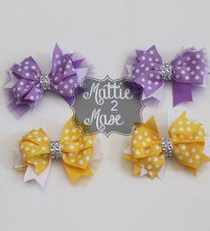 Polka Dot Bows Pinwheel Bow Set Back to School Bows by Mattie2Mase