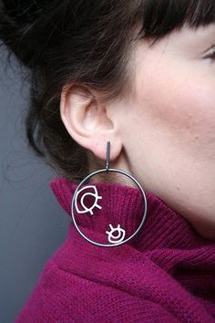 Eyes in a hoop Earrings Big Sterling Silver Hoop Earrings