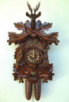 24in Hunting Scene & Animals 8 Days Traditional German Black Forest Clock by Schneider