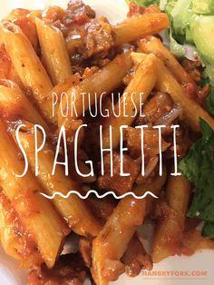 Portuguese Spaghetti - Linguica Sausage Pasta - Hangry Fork - I Cook Different Linguica Recipes, Sausage Recipes, Pasta Recipes, Dinner Recipes, Cooking Recipes, Dinner Ideas, Recipe Pasta, Spaghetti Recipes, Savoury Recipes