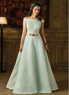 #blue #art #silk #party Wear #gown