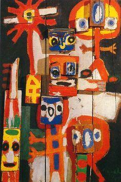 https://www.centrepompidou.fr/id/cEned5k/rRxMLk/en Karel Appel - Vragende kinderen (Enfants quémandeurs), 1948