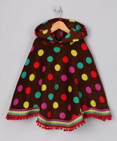 Brown Polka Dot Fleece #Poncho by Bonnie Jean on #zulily