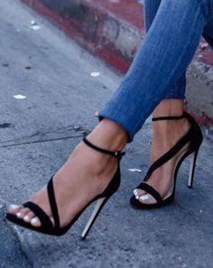 a615778aa86 Black high heels sandals