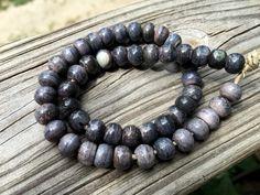 8mm Round Bone Beads, Handcrafted Blue Slate Grey Color, Boho Tribal Native…