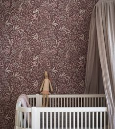 A classic pattern from our archives, Nocturne features a tight floral pattern, hand-painted and presented in both light and dark shades. Timeless charm with a contemporary twist, perfectly complimenting the modern, trend-conscious home. Floral wallpaper a Swedish Wallpaper, Pink Wallpaper, Pattern Wallpaper, Baby Bedroom, Girls Bedroom, Yellow Interior, Lush Garden, Vintage Stil, Perfect Wallpaper
