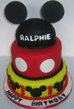Mickey mouse birthday cake, ears, tiered cake,black, red and yellow,  Montreal, Quebec
