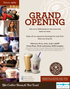 The Coffee Bean & Tea Leaf Two E-com Center Store Opening Promo