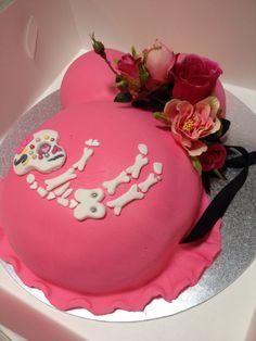 Baby shower belly cake pink sugar skull