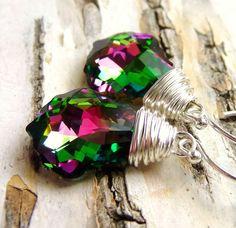 Crystal Swarovski Earrings Magenta Pink & Green Wire by JBMDesigns