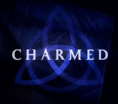 """a dark blue triquetra over a darker blue background that fades to black near the edges with the word """"charmed"""" in capital letters across the center using a light-blue, medium-sized font"""