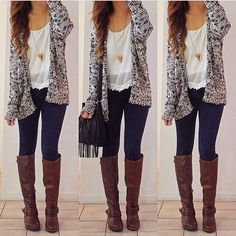 Sweaters, boots, and love the lace!