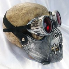 Items similar to 2 pc. set of Silver Pewter Distressed-Look Hannibal Lecter Steampunk Dust Riding MASK with Matching GOGGLES - A Burning Man Must Have on Etsy