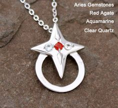 Aries, Aries Pendant, Pendant, Good Luck Charm Necklace, Gemstone Necklace, Zodiac Necklace - Fortune Star