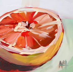 Pink Grapefruit Half no. 7 | angela moulton's painting a day