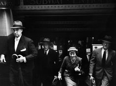 Robert Frank. Edna Wallace Hopper, now in her mid-80s, exiting Wall Street subway en route to her office 1953 NYC