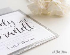 Silver Glitter Wedding Invitations Square by ATGInvitations