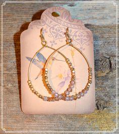 Hoop Earrings, Gold hoop earrings, Square Bead Drop Earrings, Crystal bead earrings, Wire hoop earrings, Dangle hoop earrings, Boho earrings