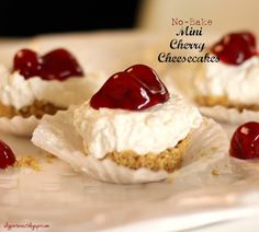 No-Bake Mini Cherry Cheesecakes.