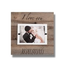 """Valentines Day """"I Love You XOXO"""" Farmhouse Tabletop Rustic Weathered Reclaimed Wood 4x6 picture frame   Unique Gift   Anniversary Gift #ChristmasOrnament #FarmhouseFrame #RusticPictureFrame #AnniversaryGift #4x6PictureFrame #ValentinesDay #BffGift #UniqueGift #personalized #ILoveYou Farmhouse Tabletop, Farmhouse Frames, Reclaimed Wood Picture Frames, Rustic Picture Frames, Unique Mothers Day Gifts, Unique Gifts, Frame Stand, Beach Frame, Weathered Wood"""