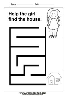 Free Printable Worksheets: Maze - Girl and House Printable Preschool Worksheets, Free Printable Worksheets, Kindergarten Worksheets, Worksheets For Kids, Preschool Activities, Maze Worksheet, Mazes For Kids, Pre Writing, Kids Education