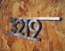 CUSTOM Modern Bars House Number Sign in Aluminum