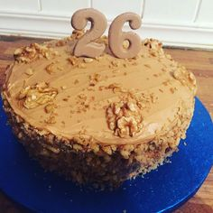 Simple coffee and walnut cake with chocolate numbers
