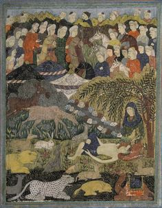 Khosro being cared for by Shirin - Safavid miniature painting, 17th c    Gouache on paper heightened with gilt, depicting Khosro being cared for by Shirin in a rocky landscape with wild animals at his side, an encampment behind and mounted figures in the mountains, with floral gilt margins.