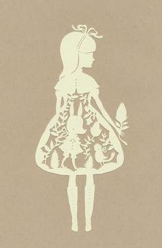 paper cutting art - girl in dress (Alice in wonderland) Kirigami, Illustrations, Illustration Art, Silhouettes, Libros Pop-up, Laser Cut Paper, Gif Disney, Adventures In Wonderland, Old Soul