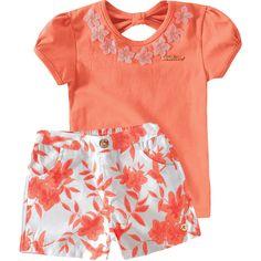 Conjunto Infantil Feminino com Shorts Floral Salmão - Milon :: 764 Kids | Roupa bebê e infantil