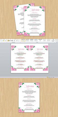Printable Wedding Menu Template  Stationery Wedding Menu
