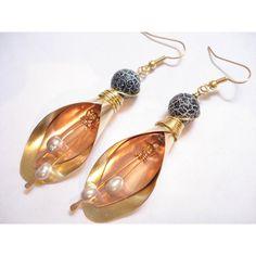 Mixed Metal Bronze Copper Earrings Dangle Pearl Earrings Handmade... (€30) via Polyvore featuring jewelry, earrings, leaf earrings, bohemian jewelry, pearl dangle earrings, mixed metal earrings and bohemian earrings